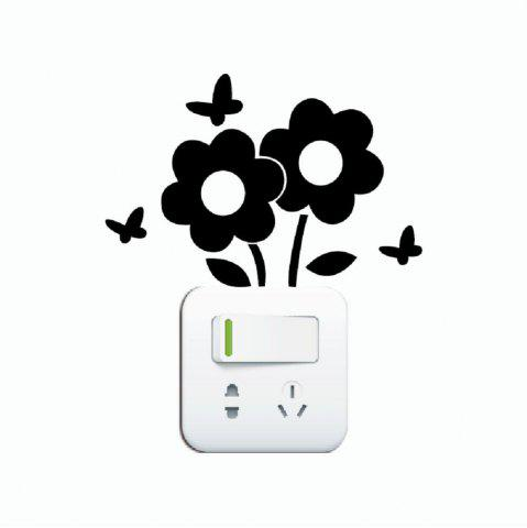 Trendy DSU Lovely Flowers Switch Sticker Cartoon Plant Vinyl Wall Sticker for Kids Room Decal