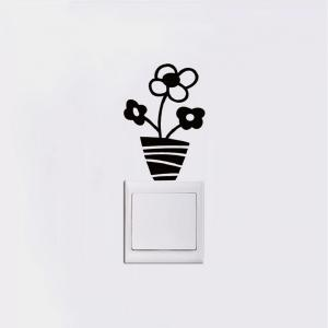 DSU Small Potted Flowers Switch Sticker Cartoon Plant Vinyl Wall Sticker for Kids Room -