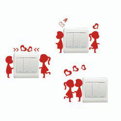 DSU  3Pcs Creative Love Trilogy Switch Sticker Cartoon Silhouette Vinyl Wall Sticker -