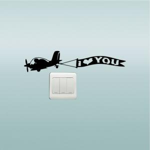 DSU  Creative Love Aircraft Switch Sticker Cartoon Vinyl Wall Sticker Home Decor -