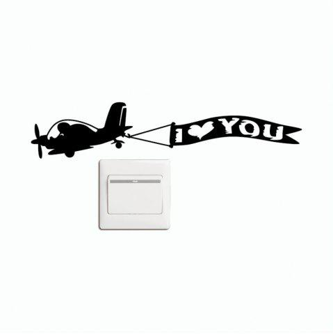 Discount DSU  Creative Love Aircraft Switch Sticker Cartoon Vinyl Wall Sticker Home Decor
