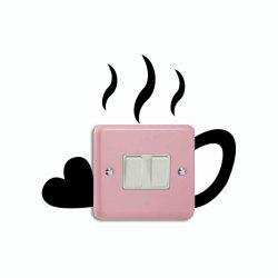 DSU Creative Love Cup Switch Sticker Funny Cup Silhouette Vinyl Wall Decal -
