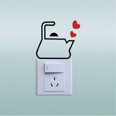 Fancy DSU Love The Kettle Switch Sticker Creative Cartoon Kettle Vinyl Wall Sticker Home Decor