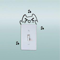 DSU Lovely Cat Singing Switch Sticker Funny Cartoon Animal Vinyl Wall Sticker -