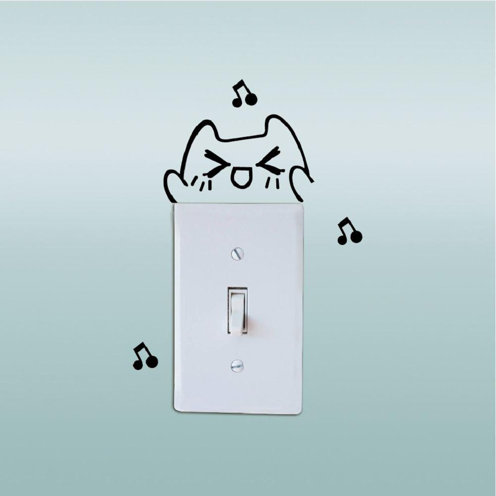 Chic DSU Lovely Cat Singing Switch Sticker Funny Cartoon Animal Vinyl Wall Sticker