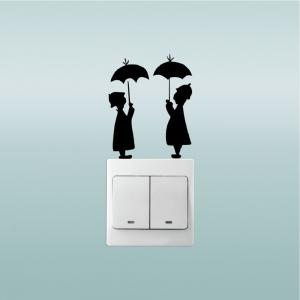 DSU Lovers In The Rain Switch Sticker Creative Lovers Silhouette Vinyl Wall Sticker -