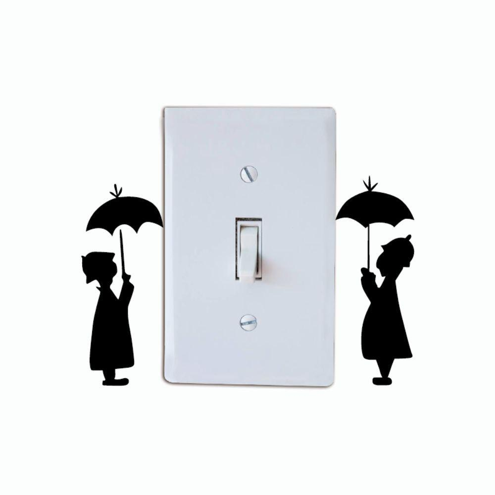 Buy DSU Lovers In The Rain Switch Sticker Creative Lovers Silhouette Vinyl Wall Sticker