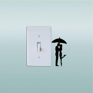DSU  Lovers in The Rain Switch Sticker Romantic Lover Vinyl Wall Decal for Wedding Room -