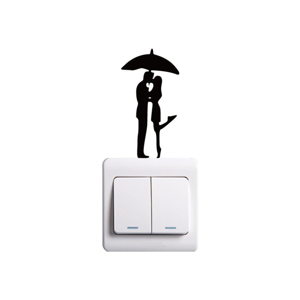 New DSU  Lovers in The Rain Switch Sticker Romantic Lover Vinyl Wall Decal for Wedding Room