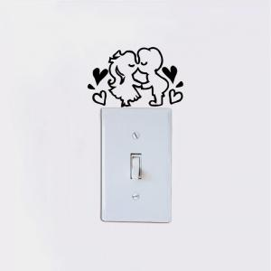 DSU  Romantic Kissing Lover Light Switch Sticker Creative Cartoon Couple Vinyl Wall Decal -