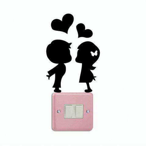 Latest DSU Romantic Lover Light Switch Sticker Creative Cartoon Silhouette Vinyl Wall Sticker