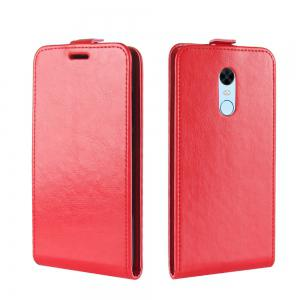 Durable Crazy Horse Pattern Up and Down Style Flip Buckle PU Leather Case for Xiaomi Redmi 5 Plus -