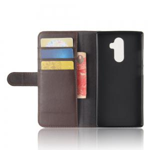 Solid Color Real Cow Leather Wallet Style Front Buckle Flip Case with Card Slots for Doogee Mix 2 -