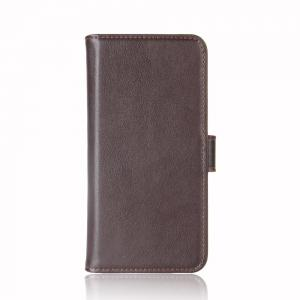 Solid Color Real Cow Leather Wallet Style Front Buckle Flip Case with Card Slots for Xiaomi Redmi 5 -