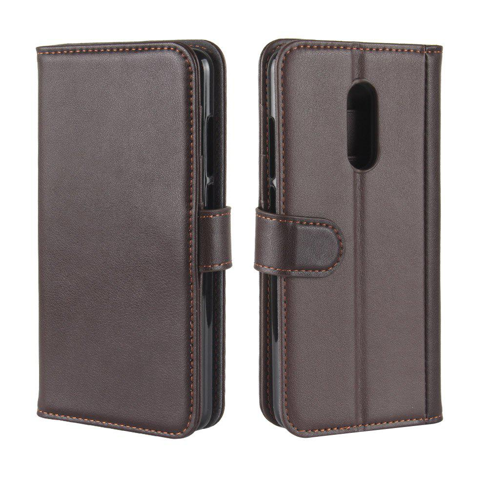 Trendy Solid Color Real Cow Leather Wallet Style Front Buckle Flip Case with Card Slots for Xiaomi Redmi 5