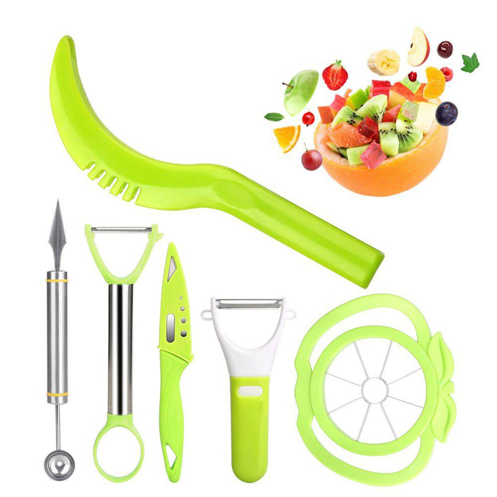 Shop 6-in-1 Fruit Carving Tool Set - Watermelon Slicer Melon Baller Scoop Fruit Carver Apple Corer Peeler Knife