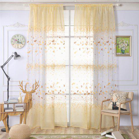 Buy 2pcs 100cm x 250cm Classic Elegant Fashion Ginkgo Leaves Floral Printed Fresh Pastoral Style Curtains