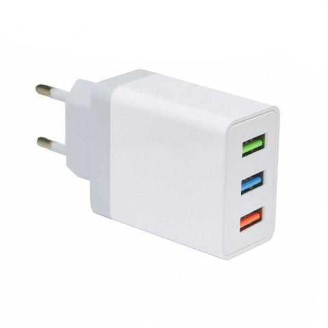 New Minismile 5V 2.4A Universal Fast Charge 3 USB Port Home USB Power Travel Charger Wall Adapter - EU Plug