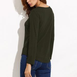 Lace Up Casual Long-Sleeved T-Shirt -