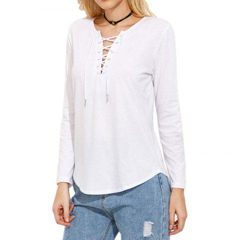 Shop Lace Up Casual Long-Sleeved T-Shirt