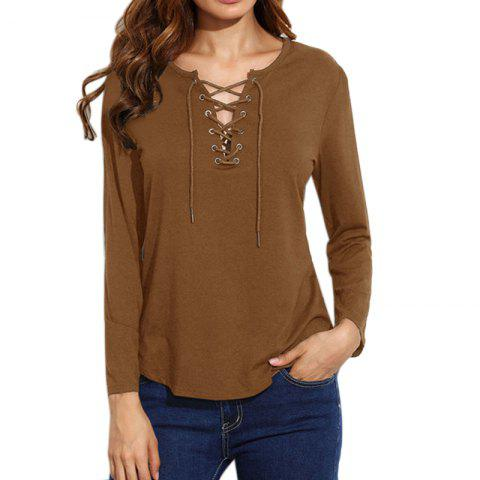 Cheap Lace Up Casual Long-Sleeved T-Shirt