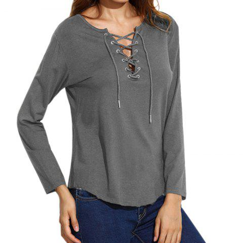 Fashion Lace Up Casual Long-Sleeved T-Shirt