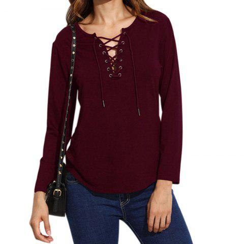 Latest Lace Up Casual Long-Sleeved T-Shirt