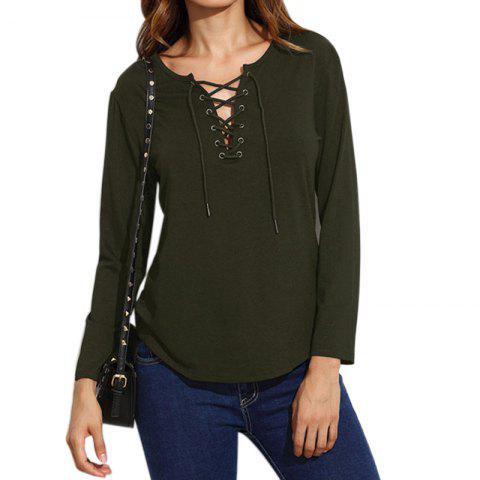 Discount Lace Up Casual Long-Sleeved T-Shirt