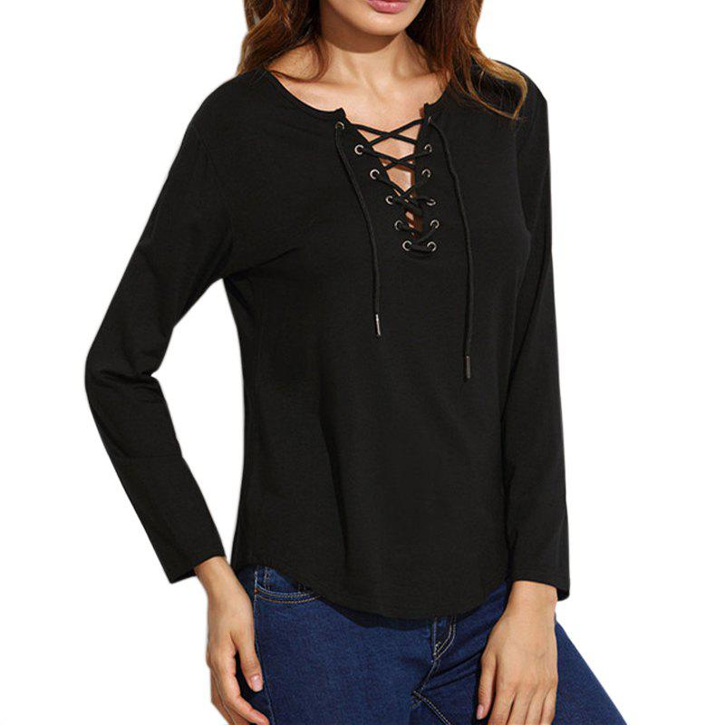 Chic Lace Up Casual Long-Sleeved T-Shirt