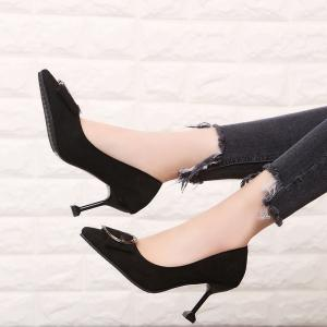 2018 New All-match Pointed Stiletto Suede Asakuchi Shoes -