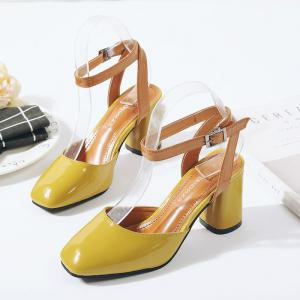 New 2018 Square Shallow Mouth Word Buckle Joker Lady Roman Sandals -