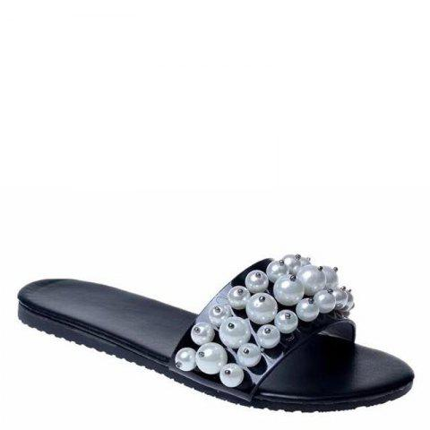 Trendy Fashion Pearl Exposed Toe Flat Bottom Anti-slip Slippers