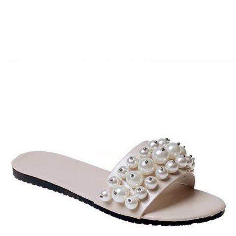 Unique Fashion Pearl Exposed Toe Flat Bottom Anti-slip Slippers