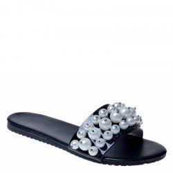Fashion Pearl Exposed Toe Flat Bottom Anti-slip Slippers -