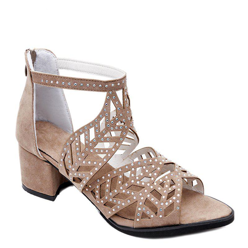 Buy Trendy Zipper Sandals Coarse Heels