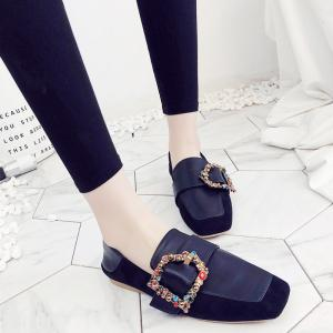 Square Color Diamond Belt Buckle Color Matching Leisure Soft Bottom Shoes -