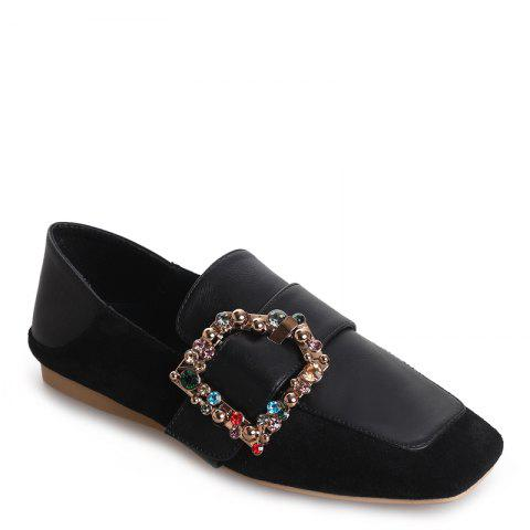 Trendy Square Color Diamond Belt Buckle Color Matching Leisure Soft Bottom Shoes
