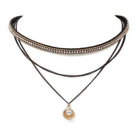 Shops Full of Korean Velvet Necklace Multi-layer Chain Shell Choker Jewelry