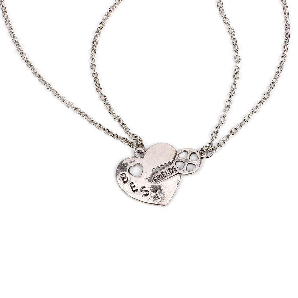 Chic Short Clavicle Chain Set Heart-shaped Key Necklace Accessories