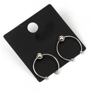 Smooth Bead Simple Geometric Half-circle Girls Heart Earrings -