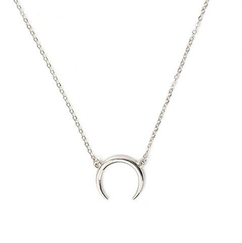 Trendy Creative Curved Moon Crescent Necklace Ladies Alloy Long Section Clavicle Chain