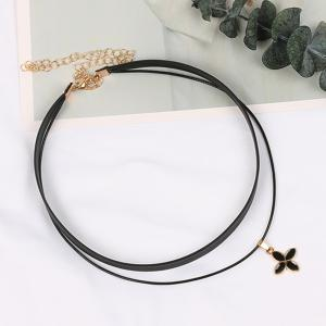 Korean Velvet Clover Double Choker Lucky Grass Necklace -