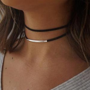 Korean Velvet Choker Double Necklace Collar Gothic Black Punk Jewelry -