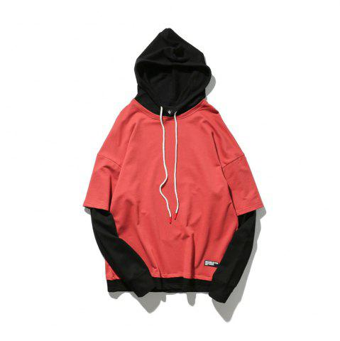 Cheap Men's Hoodie All Match Colorblocking Casual Comfy Hoodie