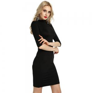 Summer Sexy Women Bandage Evening Cocktail Party Club Backless Mock Neck Sequin Bodycon Dress -
