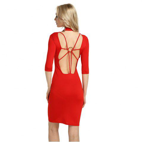 New Summer Sexy Women Bandage Evening Cocktail Party Club Backless Mock Neck Sequin Bodycon Dress