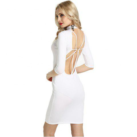 Fancy Summer Sexy Women Bandage Evening Cocktail Party Club Backless Mock Neck Sequin Bodycon Dress