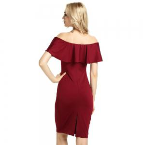 Womens Night Out Bodycon Dress Ladies Off Shoulder Falbala Dress -