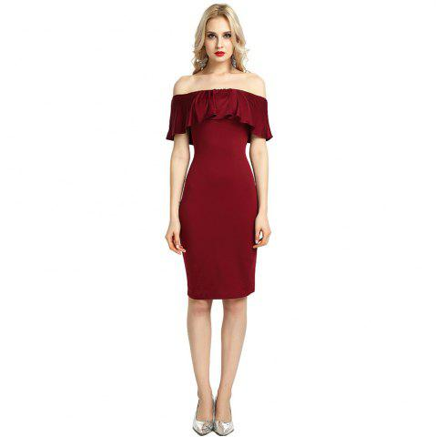 Online Womens Night Out Bodycon Dress Ladies Off Shoulder Falbala Dress