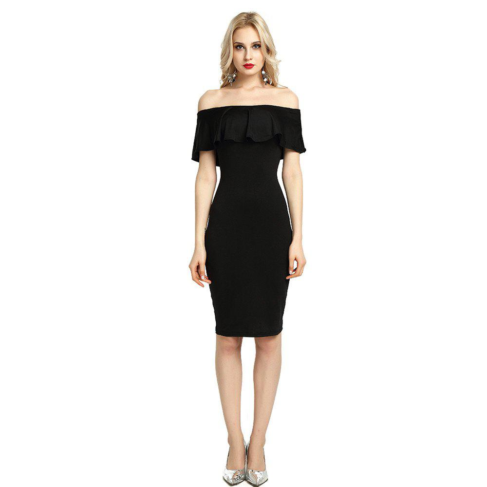 Fancy Womens Night Out Bodycon Dress Ladies Off Shoulder Falbala Dress
